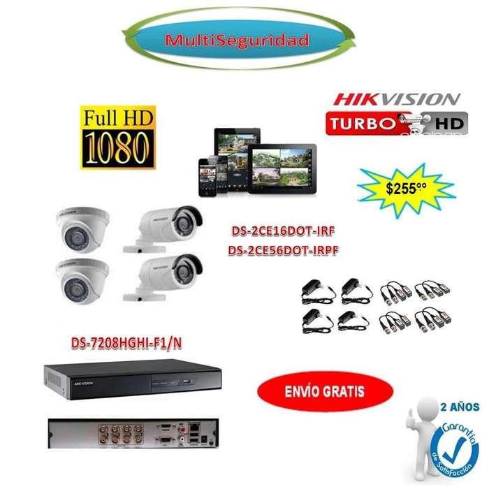 KIT HIKVISION TURBO HD 1080P 4CÁMARAS DVR 8CH ACCESORIOS CCTV