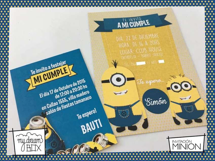 Souvenir Tarjetas Invitacion Minions Cumple Infantil Evento