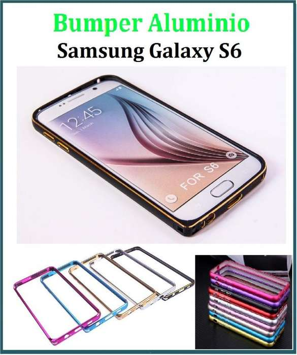 6815a2b7b81 Funda Bumper Aluminio Con Botones Samsung S6 <strong>edge</strong>  TRIBUNALES