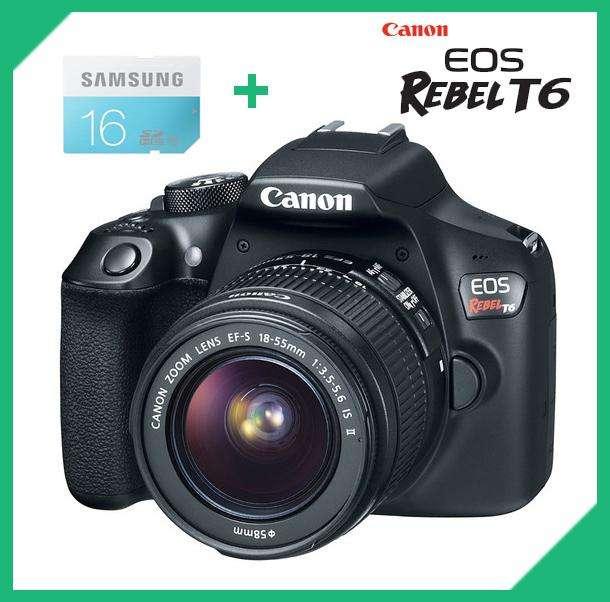 CANON T6 NUEVAS CON LENTE 1855 MM, Video 1080p. MEMORIA SD DE 16GB INCLUIDA