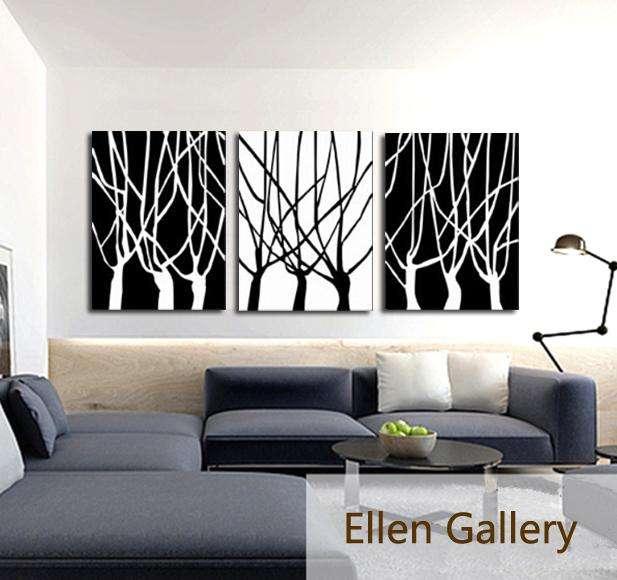 cuadro en blanco y negro en 3 paneles 9578