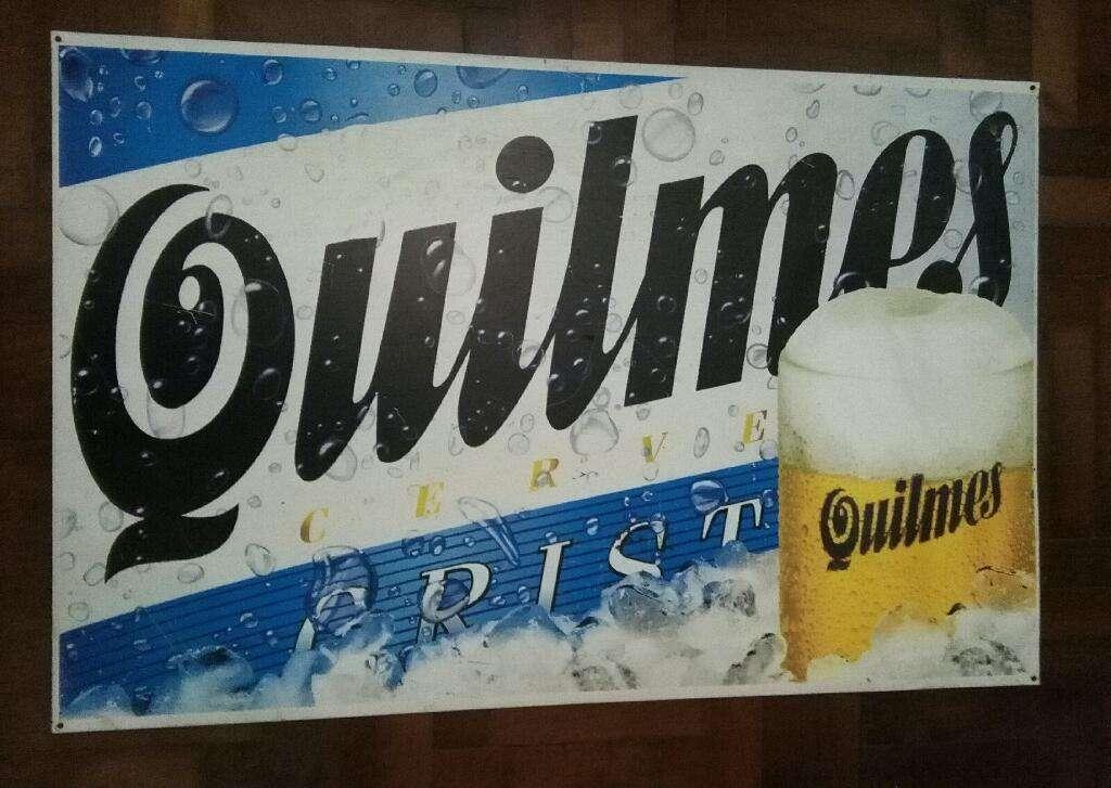 Hermoso Y ORIGINAL Cartel Cerveza Quilmes Cristal DE CHAPA 90 x 60 cm AÑOS 1990s