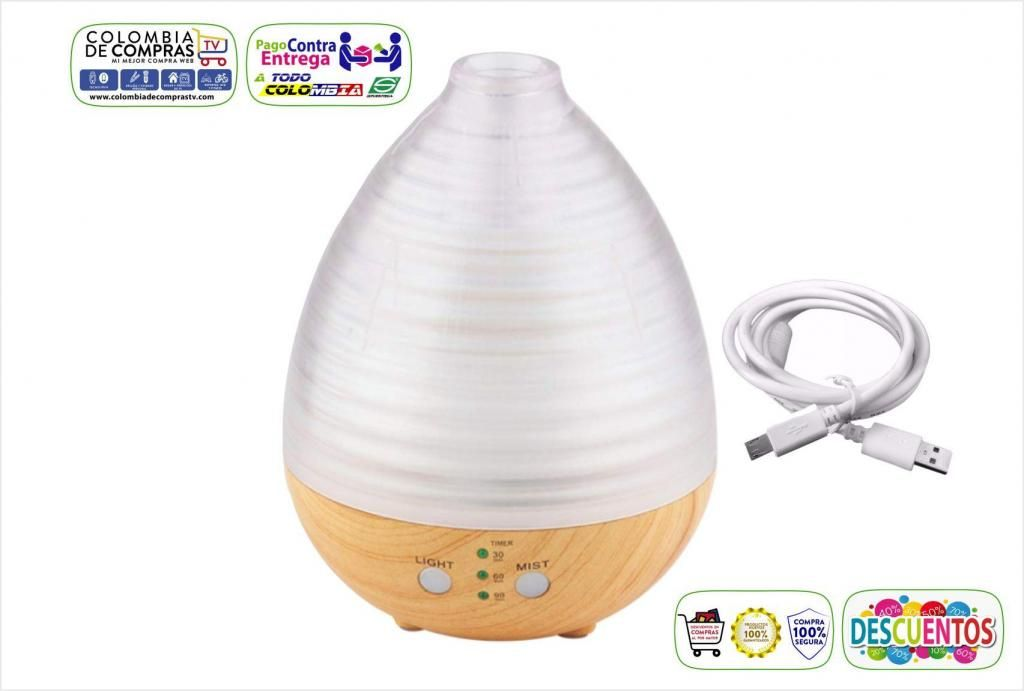 Difusor Aroma Tv 235ml Ambienta Luz Led Color Base Madera , Nuevos, Originales, Garantizados