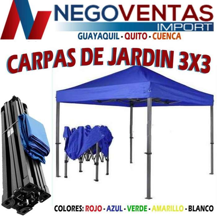 CARPA DE JARDIN 3X3 METROS ESTRUCTURA METALICA REFORZADA TIPO ACORDION CON LONA IMPERMEABLE