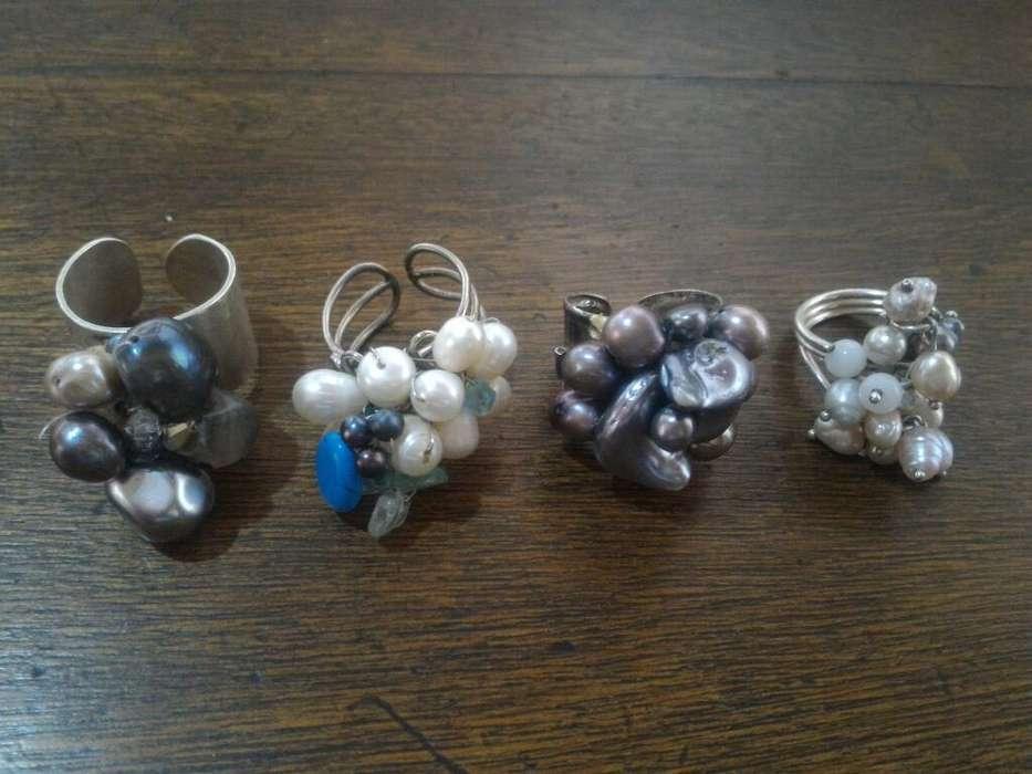 Perlas Naturales Y Plata Anillos Hermoso