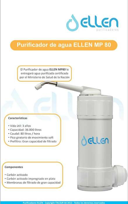 Purificador de Agua Ellen simil PSA