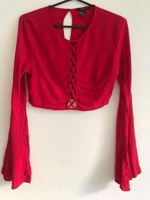 <strong>camisa</strong> Crop Roja - Forever 21 (Mediano)
