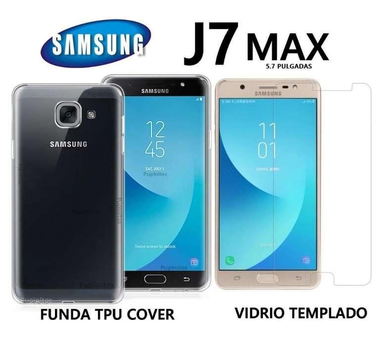 Funda Tpu Vidrio Templado Plano Samsung J7 Max Rosario