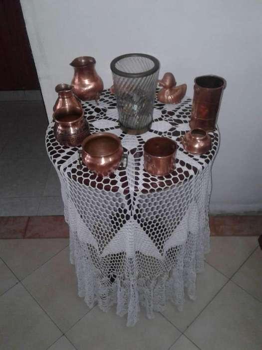 juego de ollas en cobre rojo