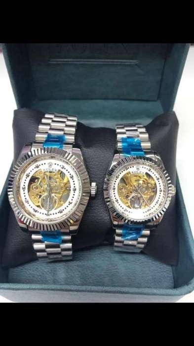 Reloj Rolex Automático Pareja Plateado