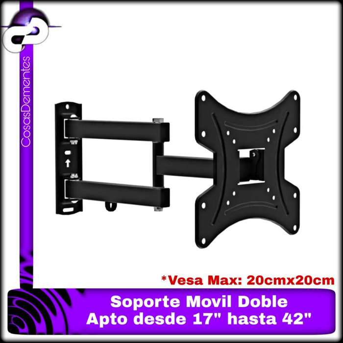 "SOPORTE TV LED MOVIL BRAZO DOBLE ARTICULADO 17"" HASTA 42"""