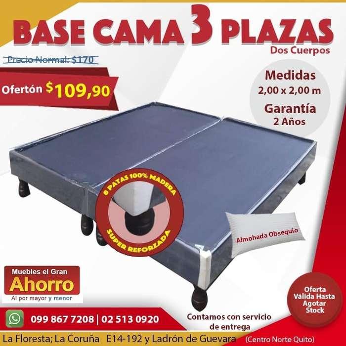 Bases de Cama 3 Plazas UNICOS CON 12 PATAS PARA UNA GARANTÍA TOTAL Base 3 Plazas