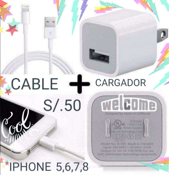 Cargador Mas Cable Usb iPhone 5,6,7