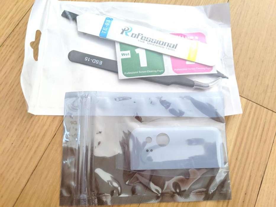 Vidrio trasero Pixel 2 Blanco y kit de reparación. Rear camera Glass