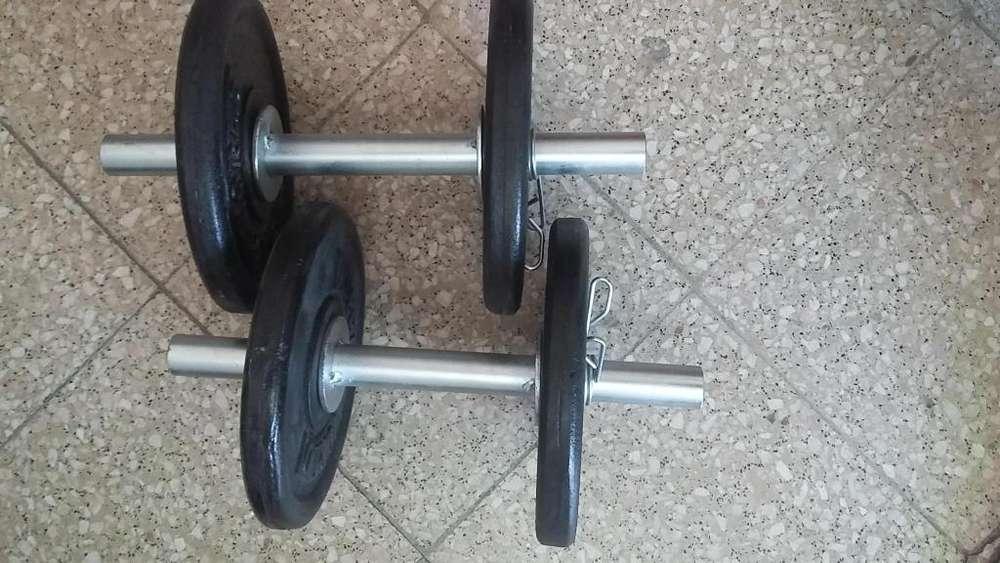 2 macuernas zincadas diam28 15 kg discos a elección