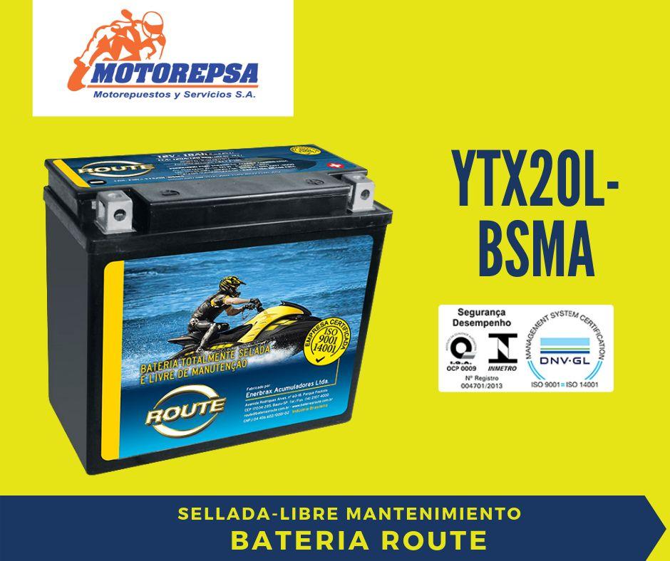 Bateria MOTO ACUÁTICA YTX20L BSMA marca ROUTE