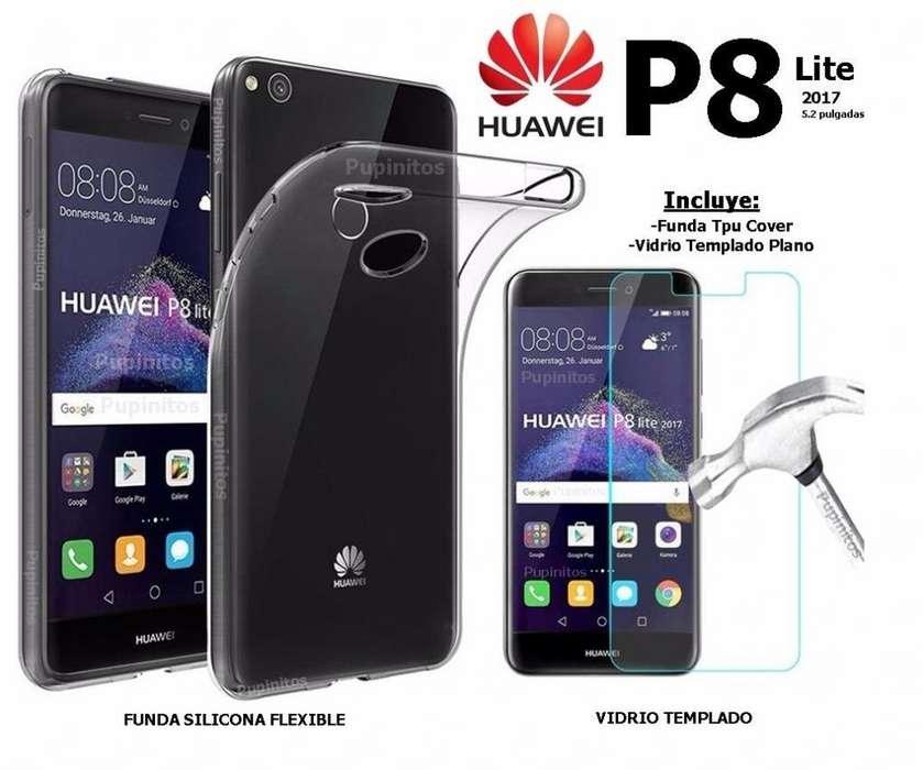 Funda Vidrio Templado Plano Usb Huawei P8 Lite 2017