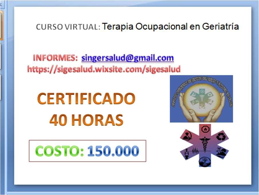 150.000 curso virtual Terapia Ocupacional en Geriatría