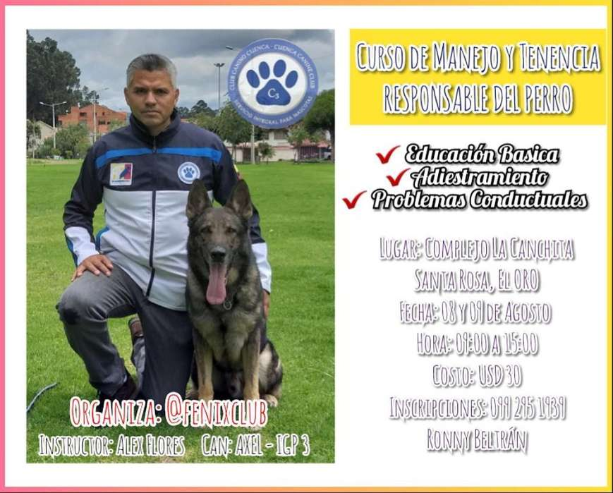 Curso <strong>adiestramiento</strong> Canino - St. Rosa