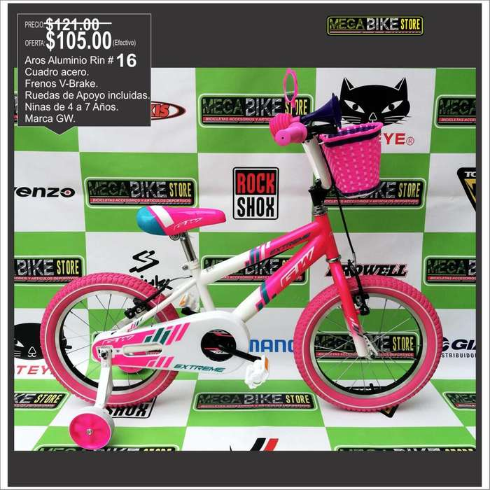 MUY POCAS UNIDADES Bicicleta Para Niña Importada Original , aro 16 niñas de cuatro a siete años.