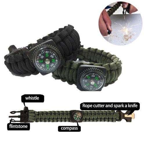 5in1 Paracord Brazalete De Supervivencia compass/flint/fire starter/whistle Camping Gear