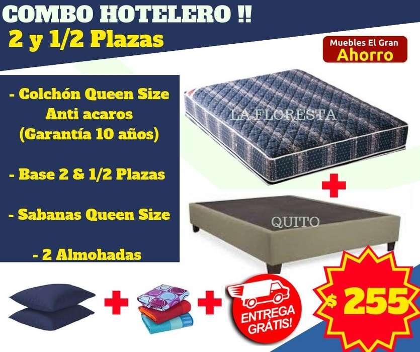 OFERTA Combo Base Cama Dos y media MAS Colchòn Queen Size