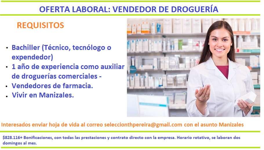 Vendedor de farmacia - Auxiliar de farmacia (Comercial) MANIZALES