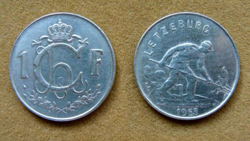 Moneda de 1 franco Luxemburgo 1953