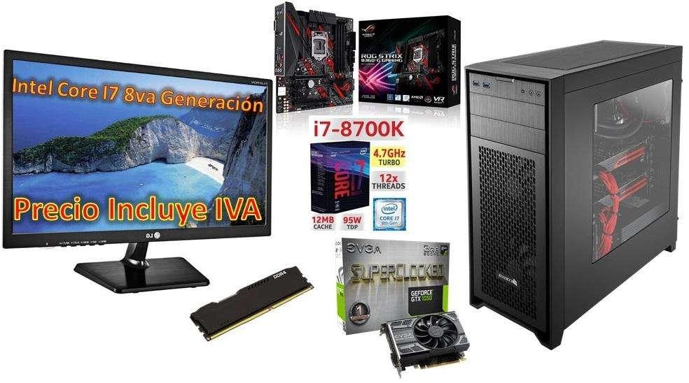 Computador Cpu Gamer Intel I7 8700k 8va 2tb 8gb Led 20 Gtx1050 3GB PRECIO INCLUYE IVA ENTREGA A DOMICILIO