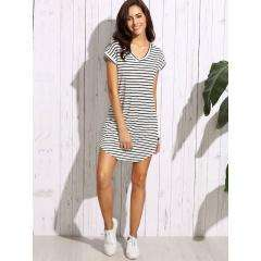 T-Shirt Dress Rayas Blanco y Negro Talla M