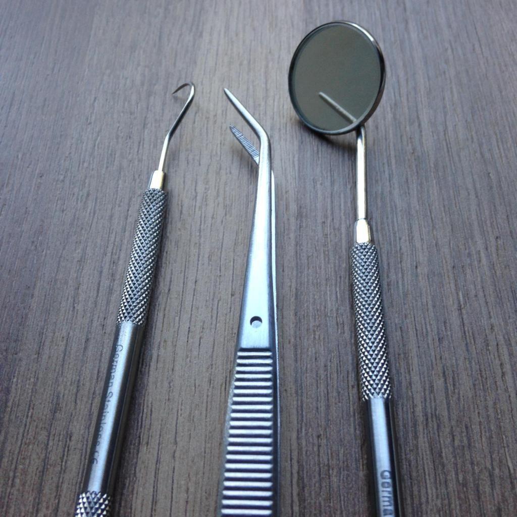 Kit basico de limpieza dental explorador, espejo, pinza algodonera, aleman excelente calidad