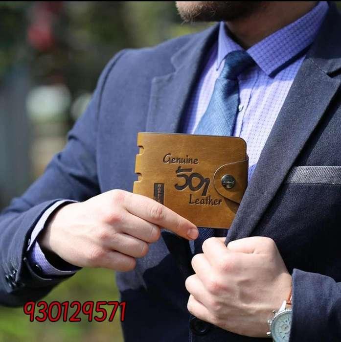 Billetera para hombre color marrón claro cuero sintético PU importado marca BAILINI modelo 501