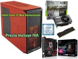 Cpu Computador Intel I7 8va Gamer Diseño 2tb 16gb Gtx1060 6GB PRECIO INCLUYE IVA ENTREGA A DOMICILIO