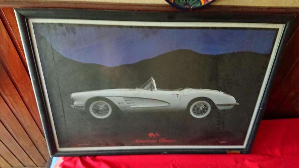 Cuadro 1986 de auto de colección un Chevrolet Corvette 1958