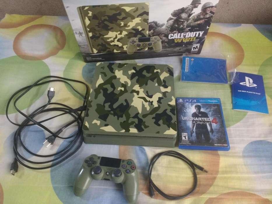 Vendo PS4 Slim 1TB camuflada con 1 juego