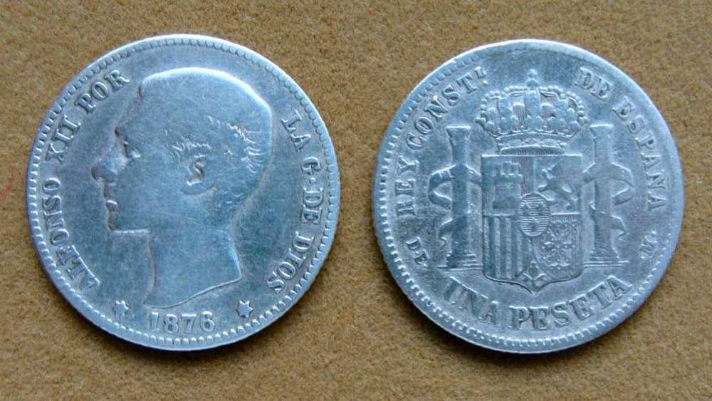 Moneda de 1 peseta de plata, España 1876