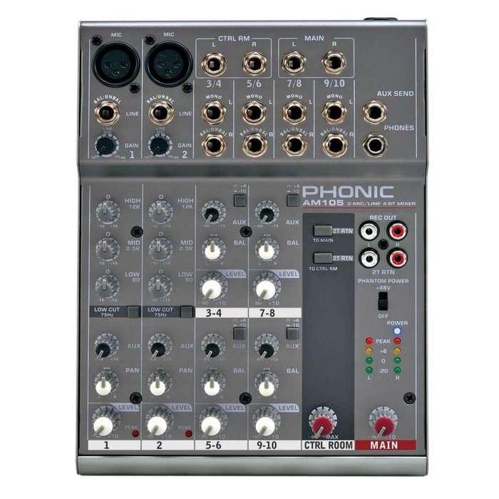 Mixer Phonic AM105 y Cable de regalo