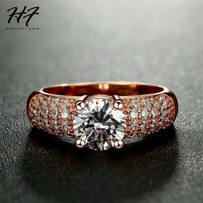 Anillos de Compromiso Matrimonio Regalo Oro 18k Cristales Swarosvki Joyeria collar reloj
