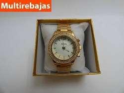 Fina Joya Femenina, Reloj De Mujer Color Dorado