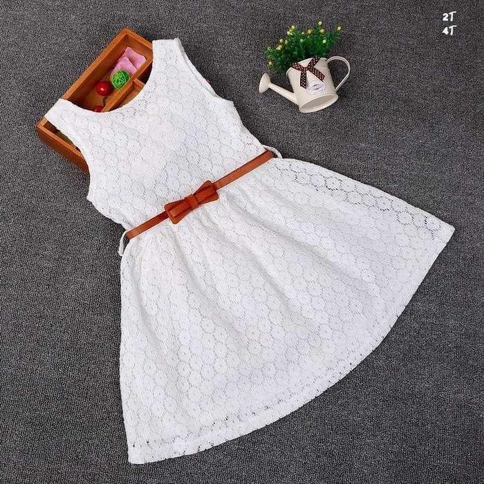 Vestido Niña Fiesta Blanco Rojo