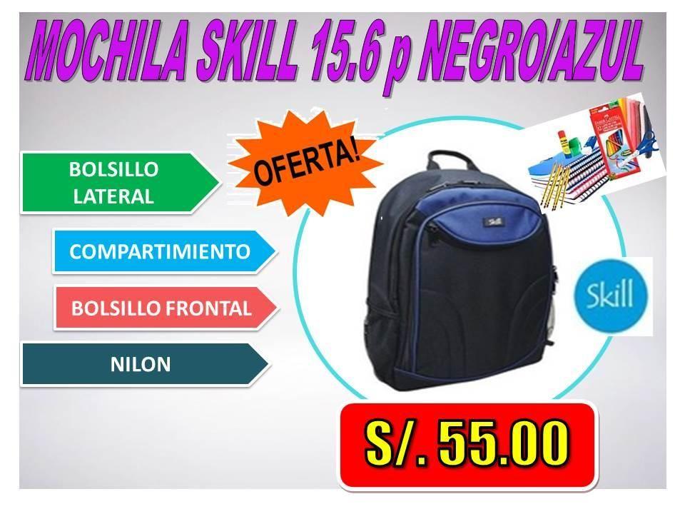 MOCHILA SKILL 15.6 p NEGRO/AZUL