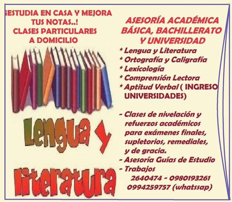 Clases Particulares a Domicilio. Nivelación en Lengua y Literatura.