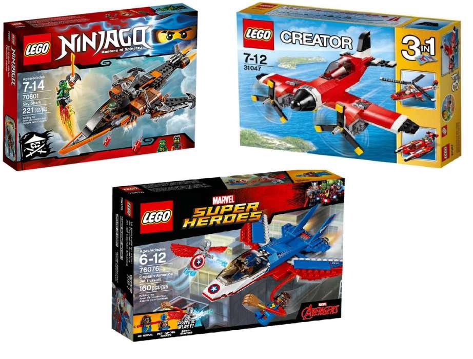 Lego-Ninjago Tiburón, Jet Capitan America, Avion Con Helices