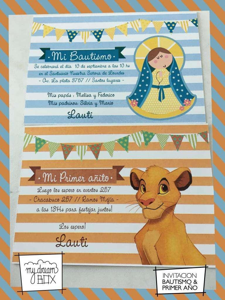 Nacimiento Invitacion Rey Leon Simba Cumple Infantil Evento