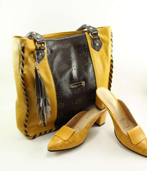 Promo Bolso Y Zapatos Puro Cuero