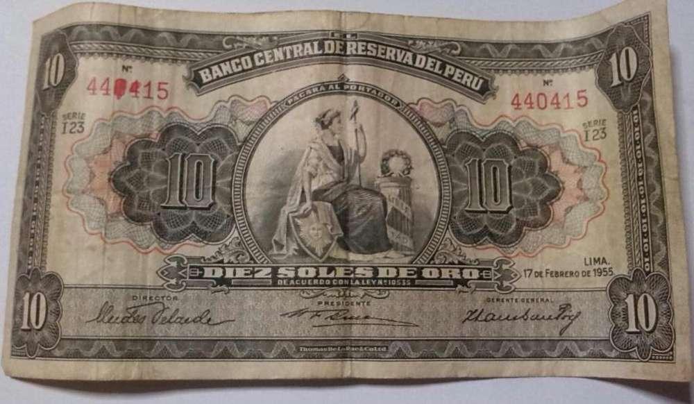 Billete 10 Soles de Oro del Año 1955