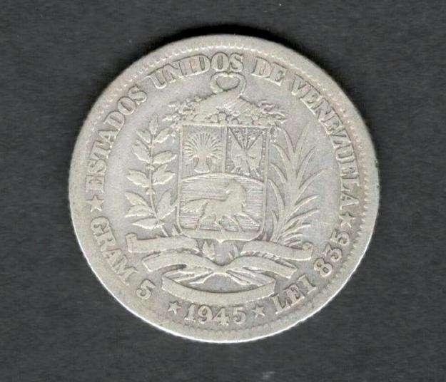 Venezuela 1945 Moneda 1 Bolivar de Plata VF