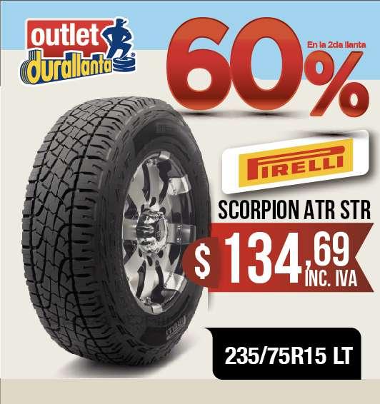 <strong>llantas</strong> 235/75R15 LT PIRELLI SCORPION ATR STREET LUV D-MAX BT-50 KORANDO A230 Montero Sport 4WD