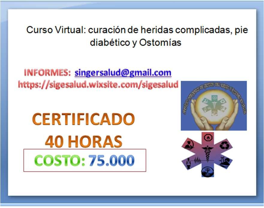 75.000 curso virtual curación de heridas complicadas, pie diabético y Ostomías