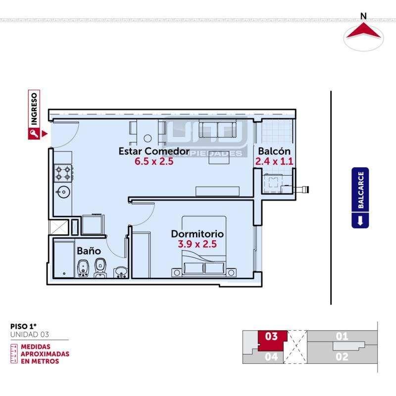 Balcarce y San Juan - Dpto de 1 Dormitorio. Posibilidad cochera. Vende Uno Propiedades